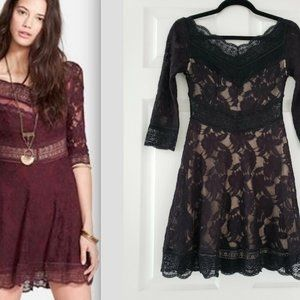 Free People Fit Flare Lace Dress Nude Lined Boho